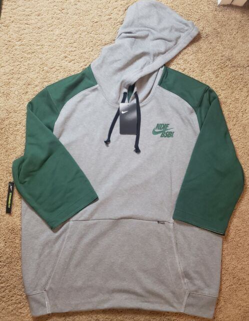 $70 Nike Baseball 3/4 Sleeve Pullover Hoodie Men's XL Grey/Green BQ6597-341 NWT