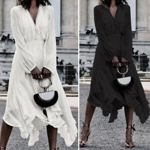 Plus-Size-Womens-Loose-Asymmetric-Ruffle-Dress-V-Neck-Long-Sleeve-Party-Clubwear