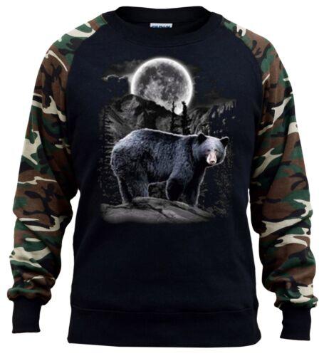 New Men/'s Moon Light Bear Camo Raglan Sweatshirt Wildlife Native American Spirit