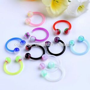 10x-Mixed-UV-Colorful-Round-Ball-Top-16g-Barbell-Nose-Horseshoe-Rings-Piercing