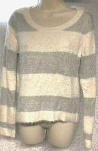 LC Lauren Conrad Womens Sweater Pullover Size S Striped Fuzzy Knit Gray White