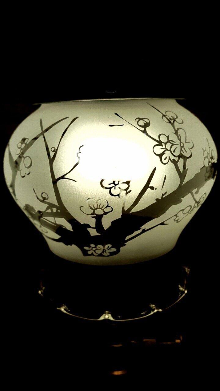 japanese apricot flower sanding Tulip glass for tilley table lantern, lamp