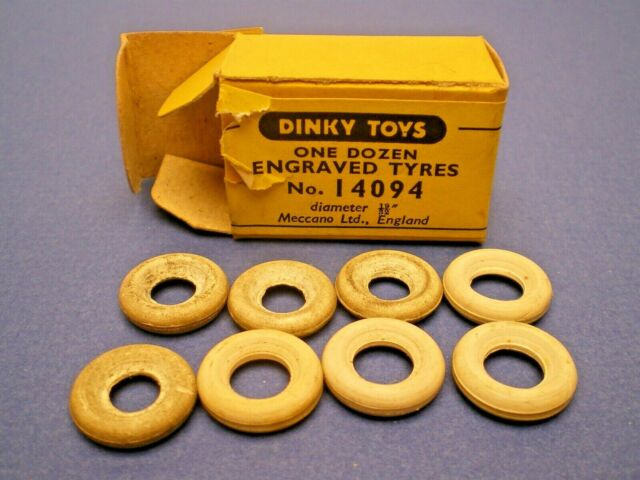 Vintage Dinky Toys 8 White tyres in an opened box L@@K!