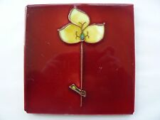 Antique Majolica Art Nouveau Tubelined Red Tile Stylised Yellow & Green Flower