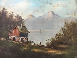Old-Oil-Painting-1898-Home-At-Lake-Suddeutshland-Bavaria-Alps-Fishermen-Sailing
