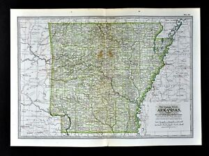 Details about 1902 Century Map Arkansas Little Rock Fayetteville Hot  Springs Conway Rogers AR