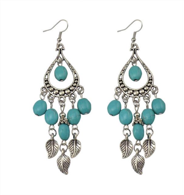 Boho Folk Style Turquoise Dangle Ear Stud Earrings Charm Lady Party Jewelry