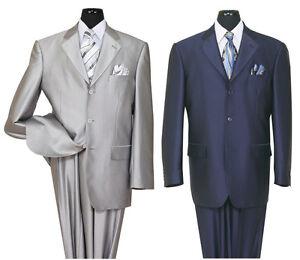 Men's 3 Button Elegant Wool Feel Sharkskin Look Suit 58025 Black, Navy, Silver