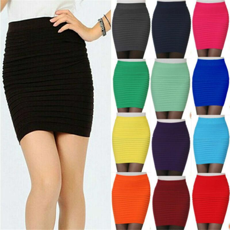 Neu Damen Hoch Taillierte Einfarbiges Jersey Sommer Figurbetont Bleistift Rock N