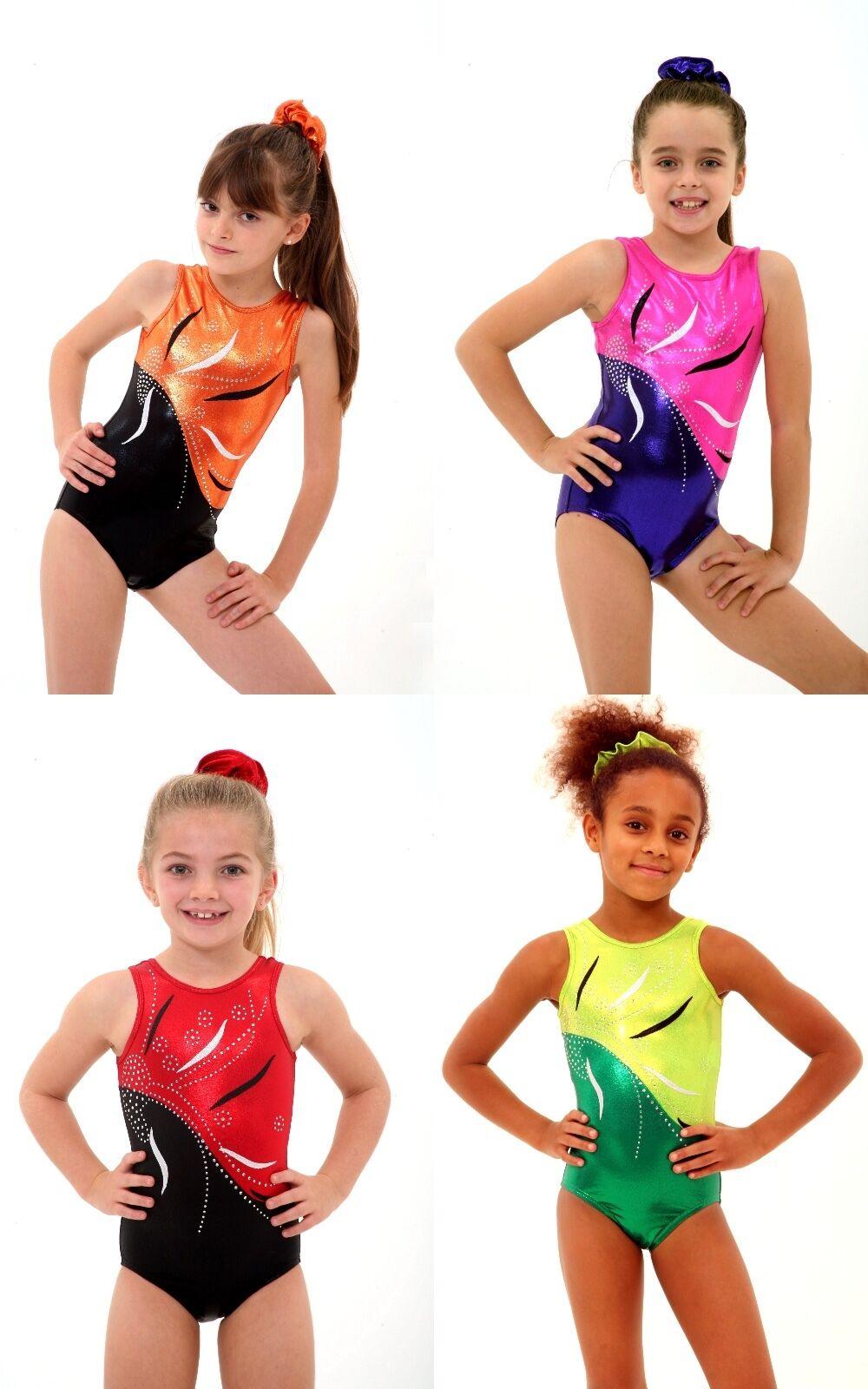 ALL SIZES Fleur Bodice Girls Gymnastics Leotard 26,28,30,32,34,36,38 Foil Gems