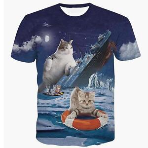0195ad31f Funny Titanic Cat Kitten 3D Print T-Shirt Top Character Tee O-Neck ...