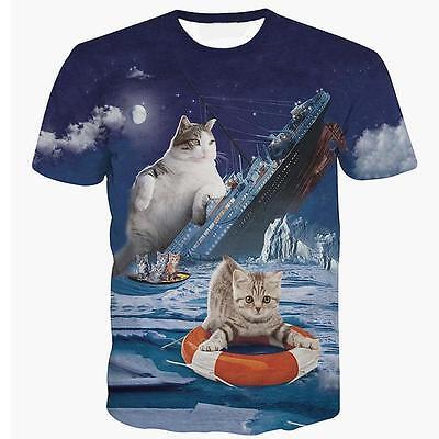 Funny Titanic Cat Kitten 3D Print T-Shirt Top Character Tee O-Neck Short Shirts