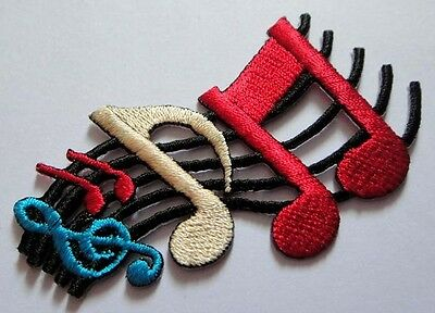 #11 MUSICAL NOTATION MUSIC NOTE SYMBOLS Embroidered Iron on Patch Free Shipping