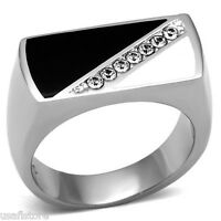 Mens Seven Crystal Black & White Silver Stainless Steel Ring