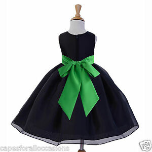 BLACK-ORGANZA-BRIDAL-BRIDESMAID-FLOWER-GIRL-DRESS-12-18M-2-2T-3-4-4T-5-5T-6-8-10
