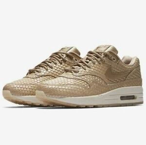 Details about Nike AIR MAX 1 PREMIUM Women's Running Shoes Blur Light Orewood Gold 454746 900