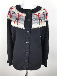 Coldwater-Creek-Sweater-Size-Medium-M-Skiing-Skis-Pole-Winter-Cardigan-Fair-Isle
