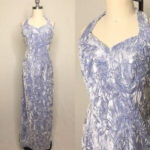 Vintage-80s-Loralie-Blue-Crushed-Velvet-Maxi-Dress-Size-Small-Medium