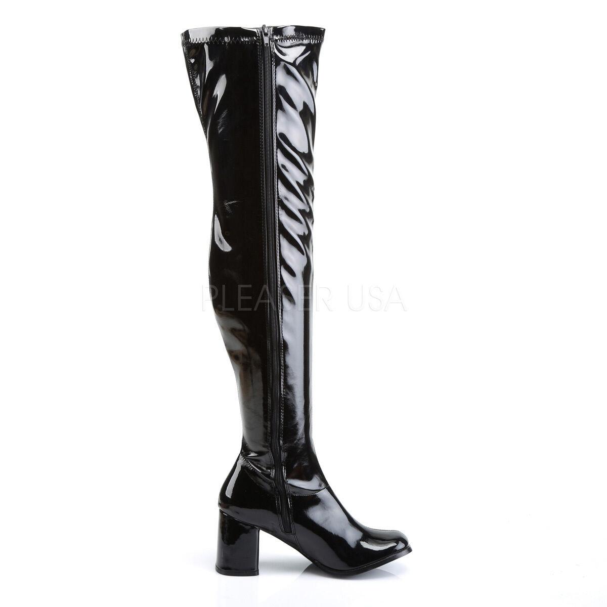 Gogo 3000 Black Pat OTK Stretch zip up Boot 3