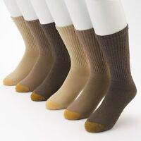 Gold Toe Men's 3 Pair Athletic Cushioned Cotton Crew Socks Shoe Size 6-12 1/2