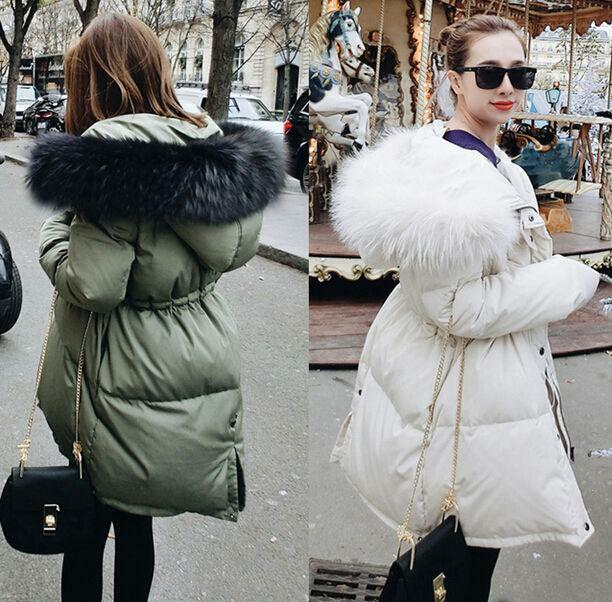 dd87cac76 Real FUR Collar Hooded Women's Thicken Winter Parka Warm Duck Down Coat  Jacket