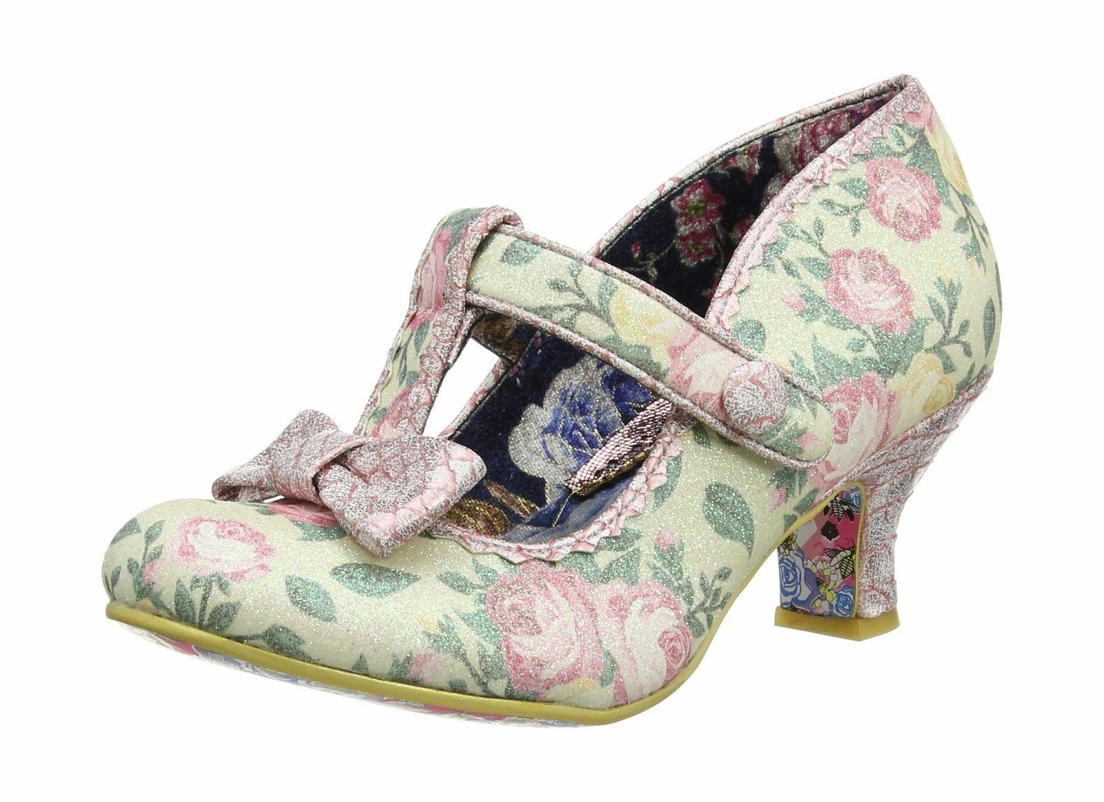 Irregular choice' Faul Fluss' (D) Neuwertig Blaumenmuster Mittelhoch T-Bar Schuhe