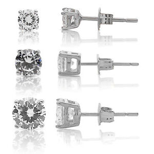 0506ce2a5 925 Sterling Silver Round CZ Stud Earrings Set Of Three Sizes - 4mm ...