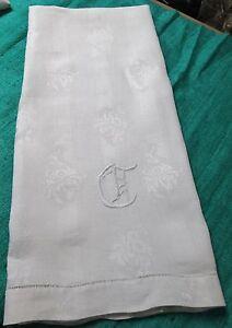 Antique Nubby Linen Bath Towel C Monogram Daffodil Florals on Satin Stripes