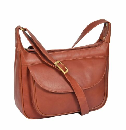 Ladies Real Leather Brown Shoulder Bag Large Casual Cross Body Organiser Satchel