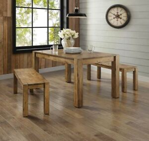 Details about Dining Table Set for 4 Rustic Farmhouse Kitchen Table Bench 3  Piece Solid Wood