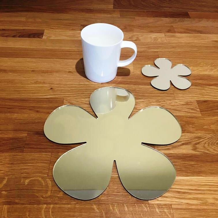 Daisy Shaped Placemat and Coaster Set - gold Mirror