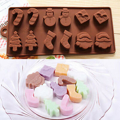 Xmas Tree Snowman Silicone Chocolate Muffin Cake Mould Baking Mold Decorating
