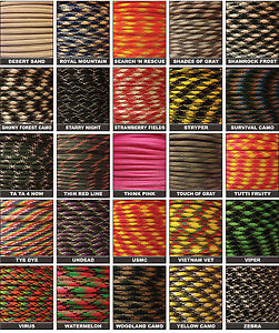 550-Paracord-Military-Spec-Type-III-7-strand-parachute-cord-10-25-50-100-ft