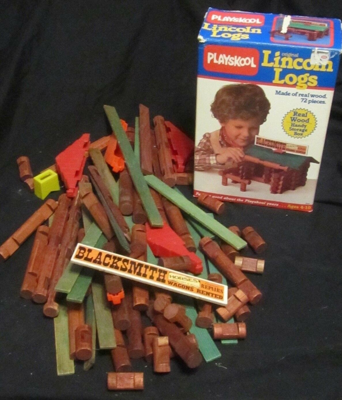 VINTAGE  PLAYSKOOL  LINCOLN LOGS SET ORIGINAL BOX 1986 1986 1986 72 PIECE 4d562c