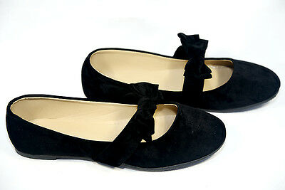 New Women Black Mary Jane Front Strap with bow Ballet Flats #2859