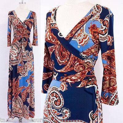 BOHO Paisley BLUE & RUST Faux Wrap MAXI DRESS Jersey LONG Skirt TRAVEL S or M