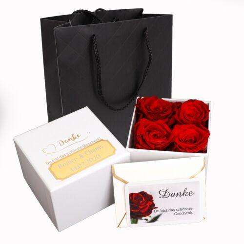 4 roses rouges Infinity rosenbox Flowerbox blumenbox Gravure Cadeau De Saint-Valentin