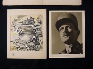 A-la-Gloire-des-Combattants-de-la-Division-Leclerc-Lithographie-Originale-signee