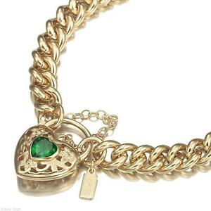 18K-Yellow-Gold-GL-Women-039-s-Solid-Medium-Euro-Bracelet-amp-Emerald-Heart-20cm