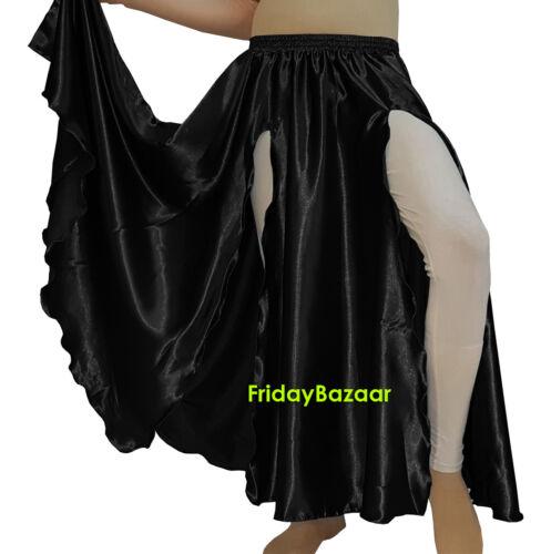 2 Front Slit Skirt Women Lady Satin Belly Dance Jupe Panel Tribal Oriental 9 Yrd