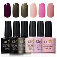 Ukiyo Soak Off UV Gel Nail Polish Gelpolish 6 Colors Kit Set Top Base Coat D