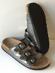 Softwaves  Pantoletten Kork Leder Fußbett Sandalen   black Bronze