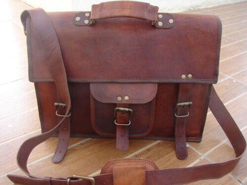 New Men/'s Vintage Goat Leather Briefcase Handbag Shoulder Messenger Laptop Bag