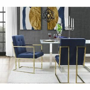 Square-Back-Arm-Upholstered-Dining-Chair-Set-of-2-PU-Leather-or-Velvet-Fabric