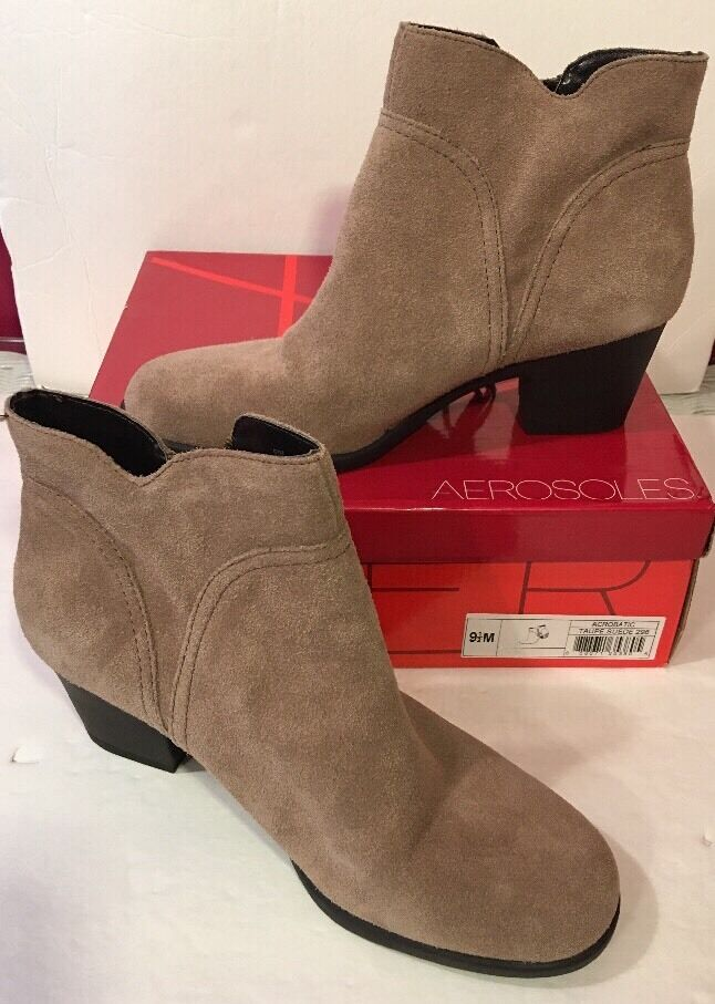 AEROSOLES 9.5 M Taupe Suede ankle boot ACROBATIC  Side Zip NEU