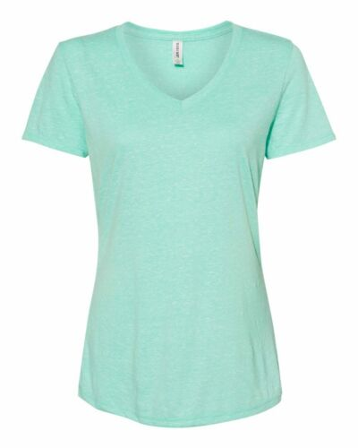 Femme JERZEES neige Heather Jersey T-Shirt col V S-3XL 88WVR