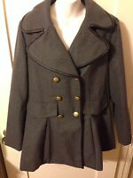 Retro Womens Gray Round Collar Pea Coat W Gold Buttons & Faux Leather Sz Lrg