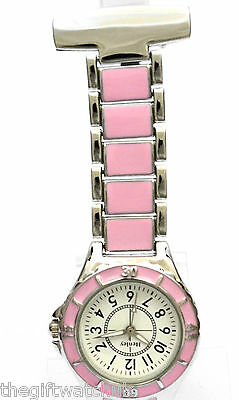 Henley Beauticians Carers Nurses Ladies Fob Watch Pink & Silver Tone New & Boxed