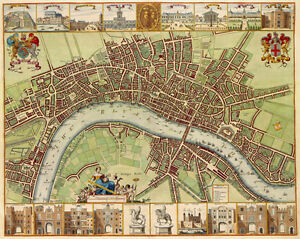 Large 17th century old world style map of london england fine art image is loading large 17th century old world style map of gumiabroncs Choice Image
