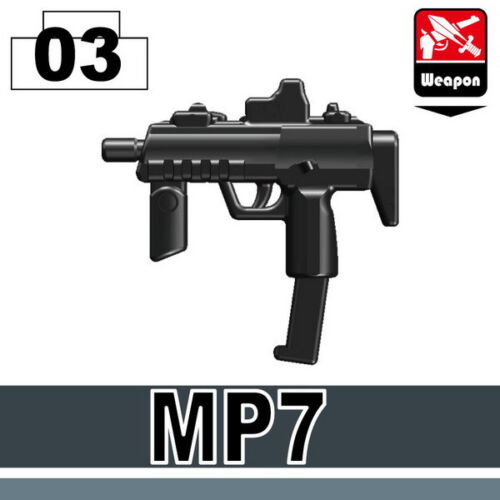 MP7 (W158) Black Machine Pistol SMG compatible w/toy brick minifigures Army SWAT